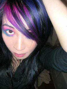 Pink, blue, purple on black color hair