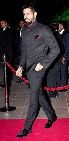 Sidharth Malhotra at Arpita Khan's wedding reception in Mumbai. #Bollywood #Fashion #Style #Handsome