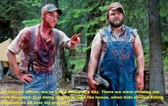 Tucker and Dale vs. Evil Awesome movie, it's on Netflix if you've never seen it. Horror Movies On Netflix, Best Horror Movies, Funny Movies, Horror Films, Marvel Movies, Good Movies, Funniest Movies, Awesome Movies, Comedy Movies
