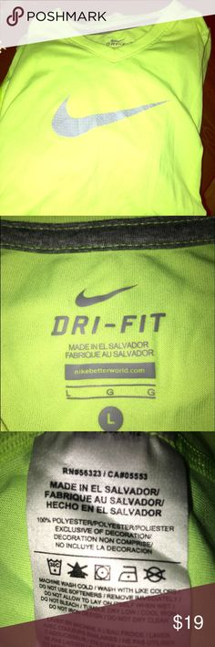 🍂Nike Dri-fit Neon yellow shirt 🍁 🍃🍂L-Girls size ! Cute neon yellow color . Never used . Reflective Nike swoosh ! Sooo cute for workouts ! 🤗🍂 Nike Tops Tees - Short Sleeve