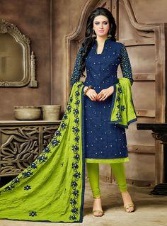 Navy Blue Cotton Churidar Salwar Suit 89922