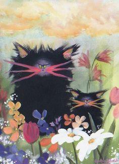 2 Black Cranky Cats in Garden