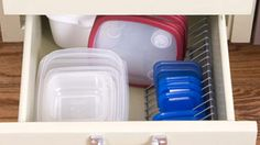 Use CD racks for container lid storage  #kitchen #diy #storage