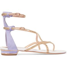 René Caovilla Crystal-embellished satin and suede sandals (1.475 BRL) ❤ liked on Polyvore featuring shoes, sandals, flats, lilac, flats sandals, strappy sandals, strappy flats, round toe flats and suede shoes