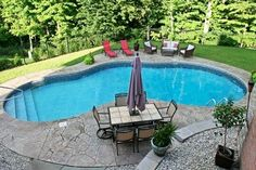 View our Mountain Pond Inground Pool Gallery. Juliano's Pools can help you with your pool project we serve Western Massachusetts Connecticut and Rhode Island Small Backyard Design, Backyard Plan, Small Backyard Pools, Backyard Pool Landscaping, Backyard Pool Designs, Swimming Pools Backyard, Outdoor Pool, Landscaping Ideas, Outdoor Patios