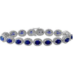Womens Diamond Accent Blue Sapphire Tennis Bracelet (4 345 ZAR) ❤ liked on Polyvore featuring jewelry, bracelets, diamond accent jewelry, blue sapphire tennis bracelet, blue sapphire jewelry and tennis bracelet