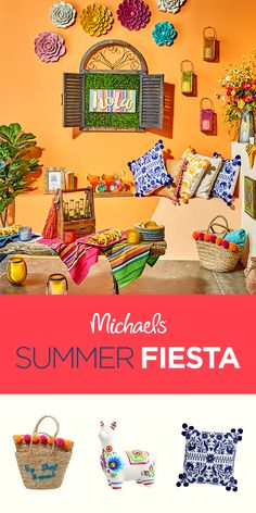 Vibrant colors & pom pom accents - we're all about the Summer Fiesta home décor trend! Find everything you need for this fun collection and get even more summer décor inspiration at Michaels. Mexican Patio, Mexican Home Decor, Mexican Art, Fiesta Decorations, Building A Deck, Home Decor Trends, Bohemian Decor, Classroom Decor, Party Themes