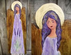 Lavender angel handpainted on an old wooden board