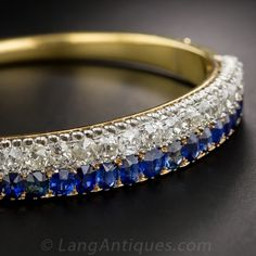 Victorian Sapphire and Diamond Bangle late 19th Century