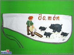 Pintura en tela, funda para el jamón.  www.manualidadespinacam.com #manualidades #pinacam #pintura #tela