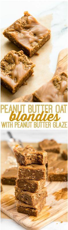 Peanut Butter Oat Blondies with Peanut Butter Glaze | Vegan, Gluten-Free, Refined-Sugar-Free