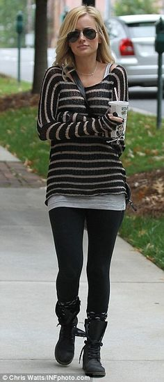 Grey cami, Black w/skinny white stripe sweater, Black leggings, Black combat boots, Black/Grey boots socks, Black messenger bag