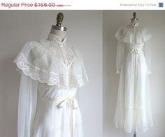 SALE 15 OFF 1970s Wedding Dress / Vintage by TulleandTiaraVintage