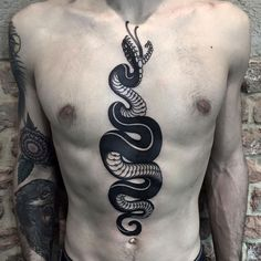 Awesomesnake tattoo by Phatt German.  http://tattooideas247.com/black-snake/