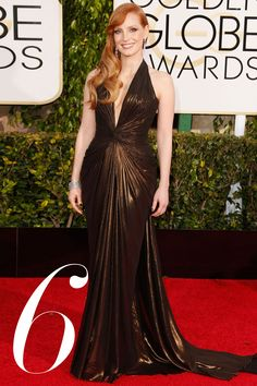 2015 Golden Globes - Jessica Chastain in Atelier Versace wins the sultry award for her plunging copper choice. Getty - HarpersBAZAAR.com