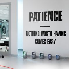 Patience Inspiring Quote Wall Decal Wall Decals, Vinyl Decals, Gym Decor, Quote Wall, New Wall, Textured Walls, Patience, Inspirational Quotes, How To Apply