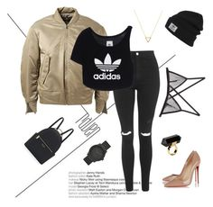 """Gym'ee"" by persianblogger on Polyvore featuring Topshop, adidas Originals, Fleur du Mal, Henri Bendel, LEFF Amsterdam, Monki, Christian Louboutin, adidas and Wanderlust + Co"