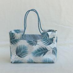 Panière souple à anses - tissu japonais / feuille tropicale - panier à bijoux/pochette de rangement multi-usages salle de bain
