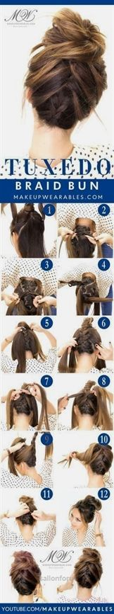 Insane Tuxedo Braid Bun Tutorial | 5 Messy Updos for Long Hair, check it out at  makeuptutorials.c… :  The post  Tuxedo Braid Bun Tutorial | 5 Messy Updos for Long Hair, check it out at makeupt…  appeared first on  Hair and Beauty .