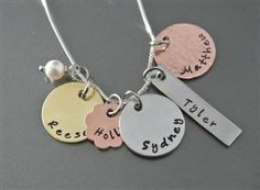 Hand Stamped Necklace, Mixed Metals, Brass, Necklaces, Rustic, Personalized Items, Antiques, Country Primitive, Antiquities