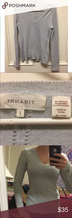 Inhabit Cashmere V-Neck Sweater NWOT authentic cashmere inhabit sweater, no flaws, smoke free home. Never worn, just tried on for reference in the picture. Anthropologie Sweaters V-Necks