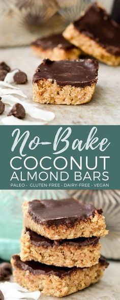 No-Bake Coconut Almond Bars Recipe! Packed full of nutritious ingredients, this healthy dessert is super easy to make and it's Paleo, vegan, gluten-free, dairy-free & refined sugar-free! #nobake #coconut #almond #chocolate #paleo #vegan #healthy #recipe #dessert