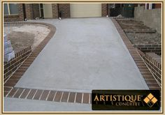 Driveway Designs are becoming a popular landscaping and design option, more people prefer to install and lay a concrete driveway to ease the . Desert Landscaping Backyard, Above Ground Pool Landscaping, Driveway Landscaping, Modern Landscaping, Driveway Ideas, Landscaping Design, Brick Border, Brick Edging, Brick Pavers