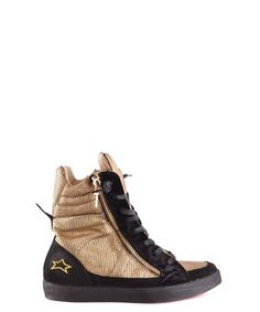 Type Of Accessory: ShoesTerms: New With LabelYear: Color: GoldSeason: Spring / SummerMade In: ItalySize: EuGender: WomanComposition: Chamois Leather Gold Sneakers, High Top Sneakers, Ishikawa, Couture, Smart Tv, Pumps, Heels, Chuck Taylors High Top, Gold Leather