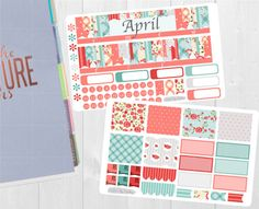 April Monthly Sticker Set - mensual ver pegatinas, planificadores de Erin Condren Vertical Horizontal y cada hora, feliz planificador, planificador pegatinas