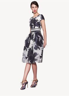 Carolina Herrera - Pre-fall 2013 - lovely little black, gray, navy and white floral print dress, gorgeous strappy high heeled sandals