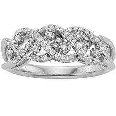 Simply Vera Vera Wang Sterling Silver 3/8-ct. T.W. Diamond Crisscross... (22.780 RUB) ❤ liked on Polyvore featuring jewelry, rings, white, diamond rings, diamond jewelry, round diamond ring, sterling silver wedding rings and diamond band wedding ring