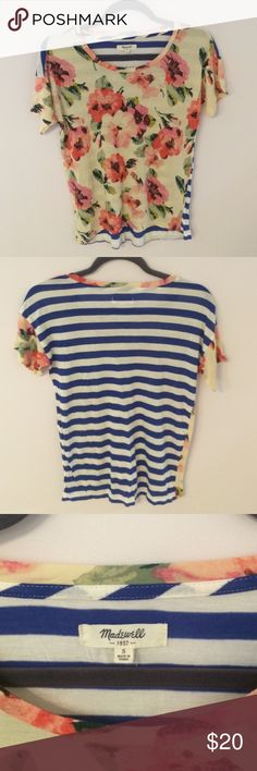 Adorable Floral and Striped Madewell T-Shirt Super cute t-shirt from Madewell with pink floral pattern on front and blue and white stripes in back. Very soft and stretchy fabric. Worn but good condition! Bundle and save 25%! Madewell Tops Tees - Short Sleeve