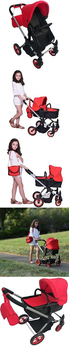 Modern Bassinet Doll Stroller -SUPERIOR QUALITY Red Quilted Fabric- NEW LUXURY COLLECTION - Adjustable Height - FREE Diaper Bag - EXTRA TALL