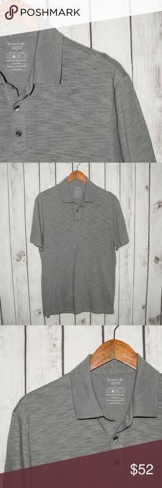 """Vince. Men's Short Sleeve Polo shirt Gray Heather Vince. Men's Short Sleeve Polo shirt Gray Heather Cotton Size Medium  Size:  Medium (Please SEE measurements)  Shoulder to Shoulder: 19""""  Chest (armpit to armpit): 21.5""""  Length :29""""  Sleeves:9""""  Condition: Great overall Condition.  Color(s):Gray  Item # 17112943 Vince Shirts Polos"""