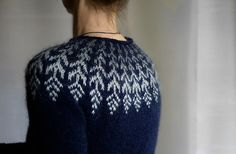 Ravelry: Fern & Feather pattern by Jennifer Steingass Sweater Knitting Patterns, Knitting Stitches, Knit Patterns, Baby Knitting, Beginner Knitting, Icelandic Sweaters, Knit Sweaters, Fair Isle Pattern, Feather Pattern