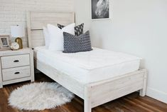 Styled for Boys – Beddy's Make Your Bed, How To Make Bed, White Girls Rooms, Beddys Bedding, Zipper Bedding, Brooklyn And Bailey, Feather Pillows, Wood End Tables, White Bedding
