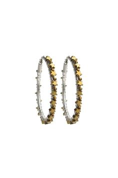 """Sterling silver hoops all wrapped by hand with gold hematite star stones. These semiprecious stones have a glam metallic sheen, making them even more special. Saddleback closure.    Approx. Measures: 1.75"""" diameter   Gold Large Star Hoops by viv&ingrid. Accessories - Jewelry - Earrings - Statement California"""