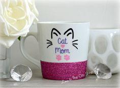 Cat Mom Mug, Cat Mug, Cat Lover Gift, I love my cat, Meow Mug, Meow Gift, Cat Lady Mug, Glitter Mug, Custom Glitter Mug, Crazy Cat Lady