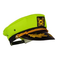 Captain Ford's Neon Yellow Captain Hat for fashionista's of any age who want to make a fun impression on any nautical journey or fun party.