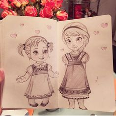 Disney Drawings Sketches, Frozen Drawings, Cute Disney Drawings, Cute Drawings, Drawing Sketches, Drawing Cartoon Characters, Cartoon Drawings, Imprimibles Toy Story Gratis, Anna Und Elsa