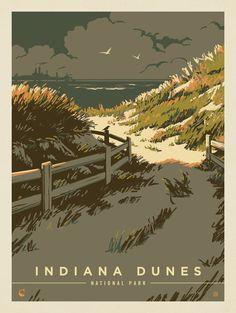 Travel Illustration, Landscape Illustration, American National Parks, Indiana Dunes, National Park Posters, Nature Posters, Vintage Travel Posters, Vintage Ski, Illustrations