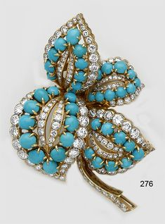 Turquoise, diamond and gold brooch. Boucheron, Paris. Matches bracelet.