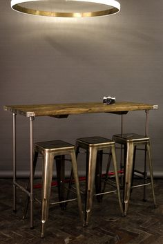 Industrial Reclaimed Vintage Style Tables Wooden Topped Bars with Steel Pipe Bases