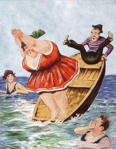 Art And Illustration, Illustrations, Funny Postcards, Old Postcards, Plus Size Art, Children Sketch, Fat Art, Beach Art, Beach Pool