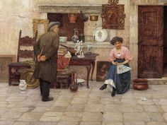 Luigi Pastega (1858-1927)-'the art lovers'-oil on canvas-ca 1927