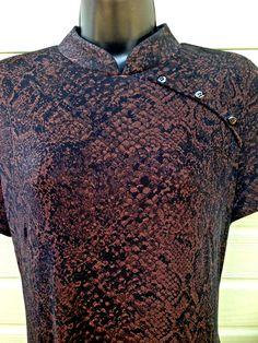 CDC Womens Qi Pao Dress Size 10 Brown Black Animal Snake print Asian Cap Sleeve #CdcClothing #Asian #QiPao #snakeprint #animalprint