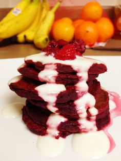 red velvet cupcakes and pancakes with healthy cream cheese frosting