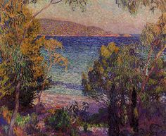 Pines and Eucalyptus at Cavelieri -  1905. Theo van Rysselberghe (1862-1926) was a Belgian painter, sculptor, and designer who, together with Henry van de Velde, headed the large rank of Belgian artists that adhered to Neo-Impressionism. A distinctive feature of his work is the clusters of white dots sprinkled across the picture surface, as here, which give his paintings an animated, almost dancing quality. The dots also often form swirling decorative patterns, as in this work.