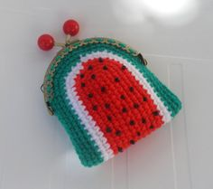 Watermelon Crochet coin purse original mini purse by sankorra