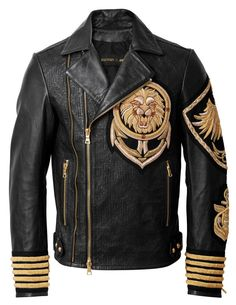 New+Balmain+H&M+Embroidery+Patches+Golden+Black+Brando+Style+Lion+Leather+Jacket Jacket+Description High+quality+Sheep+A+GRADE+leather Celebrity+Leather+jacket The+jacket+has+zips+And+buttons+on+the+sleeves. Leather Fashion, Leather Men, Mens Fashion, Leather Jackets, Balmain Jacket, Balmain Collection, Revival Clothing, Jackett, Looks Style